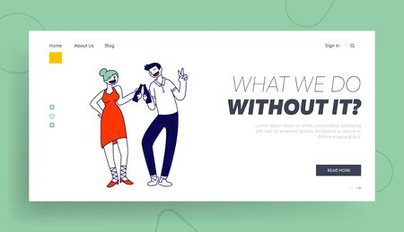 Nightlife Relaxation, Friends Meeting Website Landing Page. Young Woman and Man Clinking Bottles with Alcohol Drink Having Fun at Party in Night Club Web Page Banner. Cartoon Flat Vector Illustration Иллюстрация