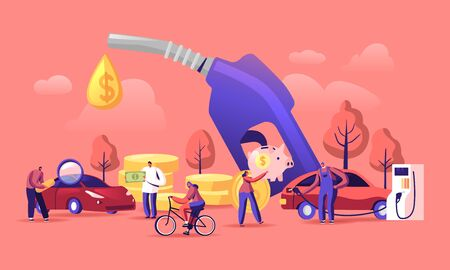 Petrol Economy Concept. Car Refueling on Fuel Station. Man Pumping Gasoline Oil. Service Filling Gas or Biodiesel Into Tank. Automotive Industry or Transportation Cartoon Flat Vector Illustration