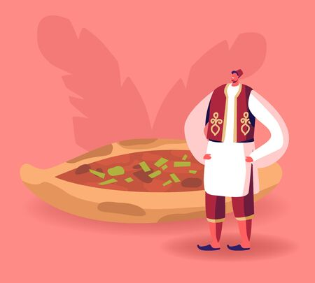 Turkish Food Concept. Man Wearing Traditional Turkey Costume Stand near Pide or Pita with Meat, Cheese and Greenery. Eastern Cuisine Restaurant. Culinary Tourism Cartoon Flat Vector Illustration Иллюстрация