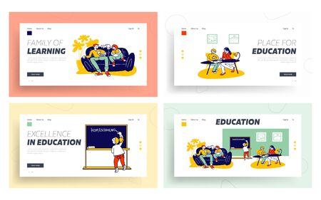 Home Studying and Schooling for Kids Website Landing Page Set. Domestic Educational Plan for Pupils