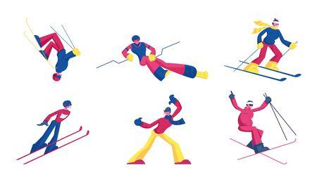 Set of Sportsmen Freestyle Skiing Jump. Winter Sport Activity Combine Skiing and Acrobatics Stunts. Aerialist Skiers