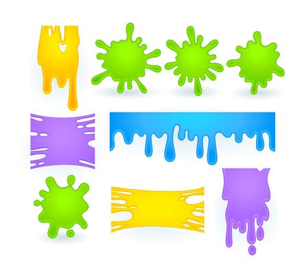Set of Slime Splashes, Liquid Goo of Yellow, Purple, Green and Blue Blots. Dripping Halloween Texture for Banner