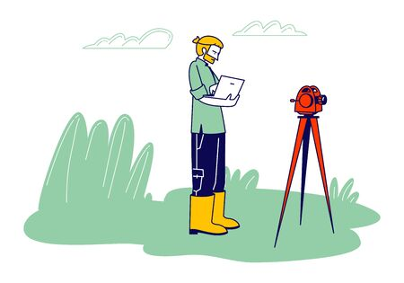Male Geologist or Archaeologist Stand near Theodolite Learning Paper Documents during Geological