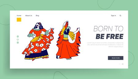 Romany Culture, Fun Website Landing Page. Gypsy Women Dressed in Colorful Dresses, Shawl and Jewelry Dancing Vektorové ilustrace