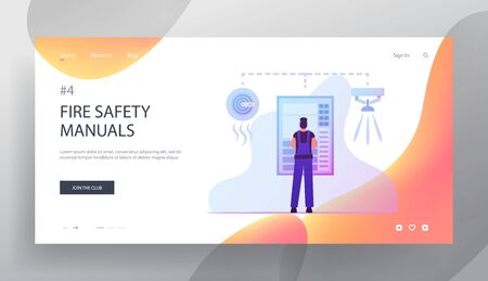 Fire, Energy and Electrical Safety Website Landing Page. Electrician Examine Working Draft or Measure Voltage at Dashboard. Smoke Trap Signaling System Web Page Banner Cartoon Flat Vector Illustration