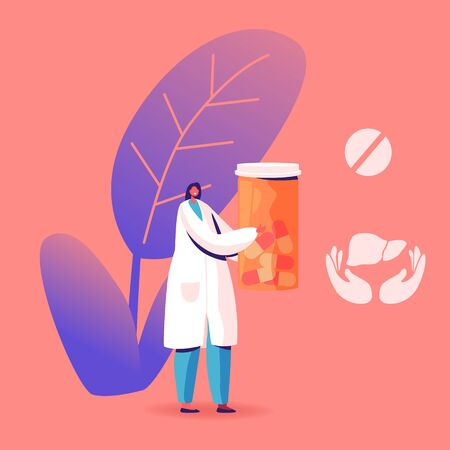 Female Doctor in Medical Robe Holding Pills Bottle Icons of Medicine Tablet and Liver in Hands nearby. Hepatitis Treatment in Clinic or Hospital, Healthcare, Medicine Cartoon Flat Vector Illustration