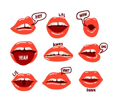 Woman Mouth Set. Red Sexy Lips Expressing Different Emotions as Happy Smiling, Seduction, Show Tongue, Kiss, Surprising, Disgust. Design Elements, Icons, Stickers Cartoon Vector Illustration Clip Art