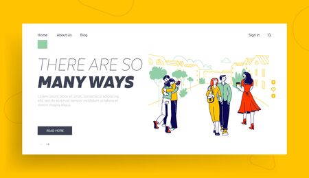 Treason, Perfidy and Love Triangle Website Landing Page. People with Soulmates Walking on Street Looking on other Attractive Persons, Cheat Web Page Banner. Cartoon Flat Vector Illustration, Line Art