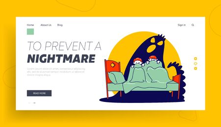Nightmare Terrified Phobia Website Landing Page. Children Hiding from Frightening Ghost under Blanket. Fearful Kids and Imaginary Monster Web Page Banner. Cartoon Flat Vector Illustration, Line Art