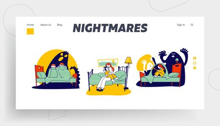 Kids Nightmares Website Landing Page. Scared Children Sitting on Bed Hiding from Ghost under Blanket. Fearful Kids and Imaginary Monster Web Page Banner. Cartoon Flat Vector Illustration, Line Art