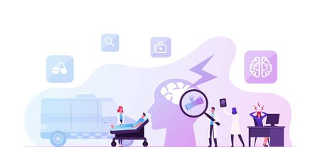 Apoplexy, Insult Attack Concept. Ambulance Hospitalize Man to Clinic, Doctor Learn Broken Bleeding Vessel in Human Brain. Woman Have Head Ache in Office. Neurosurgery Cartoon Flat Vector Illustration