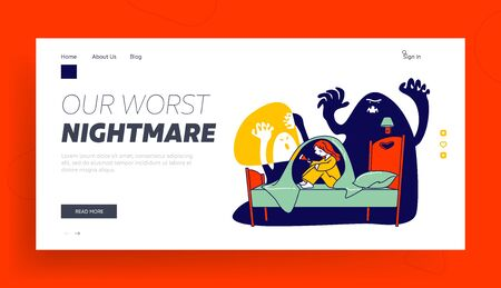 Nightmare Terrified Phobia Website Landing Page. Little Scared Girl with Flashlight Sitting on Bed under Blanket Hide from Frightening Ghost Web Page Banner. Cartoon Flat Vector Illustration, Line Art 일러스트