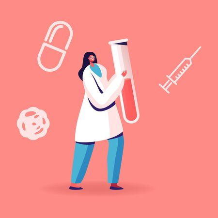 Blood Test on Hepatitis. Female Nurse or Doctor Character Carrying Huge Test Tube with Lifeblood. Medical Healthcare, Charity or Transfusion in Donation Laboratory. Cartoon Flat Vector Illustration
