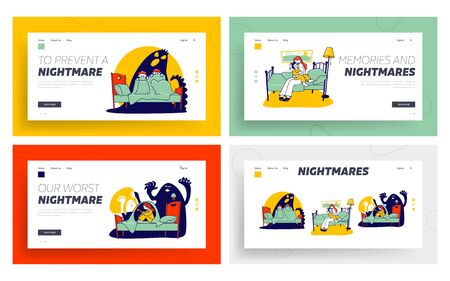 Fearful Kids and Imaginary Monsters Website Landing Page Set. Mother Calm Down Frighten Son, Kids Sitting on Bed Hide from Scary Nightmares Web Page Banner. Cartoon Flat Vector Illustration, Line Art Ilustração