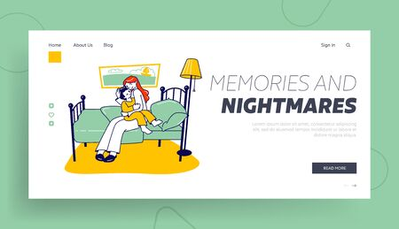 Baby Darkness Phobia, Fear Website Landing Page. Mother Calm Down Little Frightened Son Sitting on her Knees in Bedroom. Nightmare Dream Web Page Banner. Cartoon Flat Vector Illustration, Line Art
