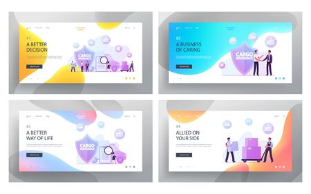 Freight Delivery Guarantee, Shipping Truck Logistics Website Landing Page Set. People Make Deal near Huge Shield Symbol. Merchandise, Cargo Insurance Web Page Banner. Cartoon Flat Vector Illustration