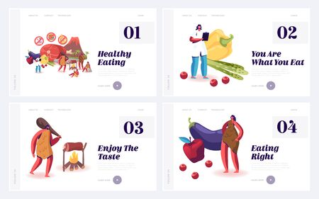 Organic Raw Nutrition Paleo Diet as Caveman Lifestyle Website Landing Page Set. Low Carbs, High Fat and Protein Food, Dietary Science, Stone Ages meal Web Page Banner. Cartoon Flat Vector Illustration