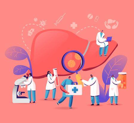 Medizinische Diagnose, Hepatitis A, B, C, D Welttag, Zirrhose-Konzept, winzige Ärzte, die sich um Patienten mit erkrankter Leber kümmern, Gesundheitswesen, Krebsbewusstsein, Behandlung Cartoon-flache Vektor-Illustration