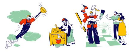 Handyman in Overalls with Instruments and Equipment for Technique and Plumbing Repair. Professional Worker with Tools Help Family, Husband on Hour Service Cartoon Flat Vector Illustration, Line Art