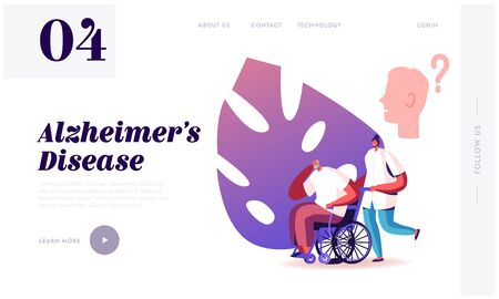 Alzheimer Disease Website Landing Page. Medical Nurse Pushing Wheelchair with Senior Man Having Memory, Intelligence and Neurology Health Problems Web Page Banner. Cartoon Flat Vector Illustration