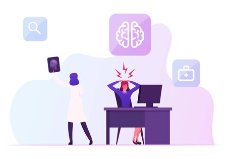 Woman Have Apoplexy Attack on Working Place. Female Office Employee with Strong Head Ache Sitting at Desk. Doctor Look on X-ray of Patient Brain. Hypertension Crisis Cartoon Flat Vector Illustration