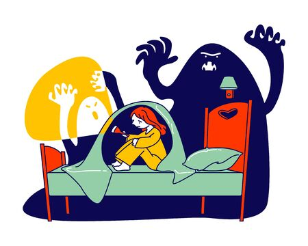Nightmare Terrified Phobia. Little Scared Girl with Flashlight Sitting on Bed under Blanket Hiding from Frightening Ghost, Fearful Kid and Imaginary Monsters Cartoon Flat Vector Illustration, Line Art