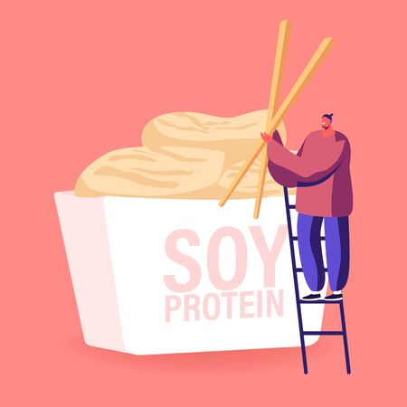 Man Hold Huge Wooden Chopsticks Standing on Ladder at at Takeaway Wok Box with Soy Protein Meat. Asian Nutrition, Healthy Vegetarian Lunch Meal, Chinese Food Restaurant. Cartoon Vector Illustration 向量圖像