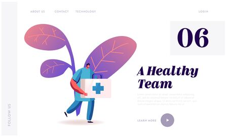 Clinic, Hospital Staff at Work, Medicine Website Landing Page. Doctor or Nurse in Robe with Medical Tool Box with Cross Run to Help Diseased Patient Web Page Banner. Cartoon Flat Vector Illustration