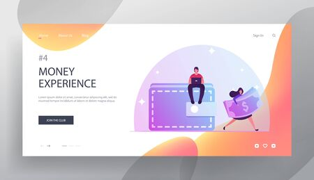 People and Money Website Landing Page. Tiny Man Sit on Huge Wallet Working on Laptop. Woman Carry Dollar Bills. Currency Exchange, Finance Success Web Page Banner. Cartoon Flat Vector Illustration Vector Illustration