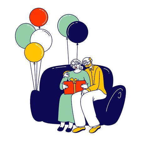 Senior Couple Sitting on Couch Hugging and Watching Family Album with Pictures in Room Decorated with Air Balloons. First Baby Birthday Celebration Party Cartoon Flat Vector Illustration, Line Art
