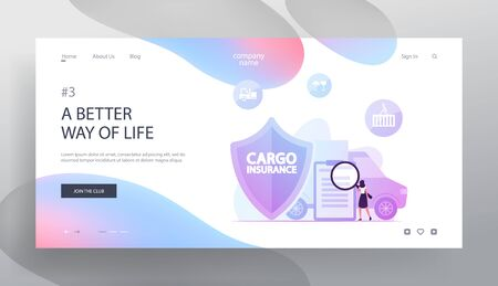 Shipping Truck Freight Delivery Guarantee Website Landing Page. Woman with Magnifier Read Contract for Cargo Insurance Service and Protection of Goods Web Page Banner. Cartoon Flat Vector Illustration