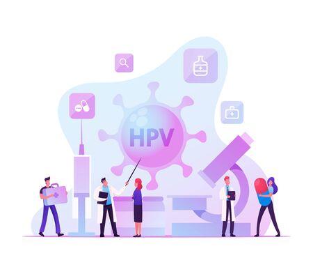 Human Papillomavirus, HPV Virus Diagnosis Checkup and Early Diagnostics Concept. Characters Vaccination, Viral Infection Treatment, Health Protection and Medication. Cartoon Flat Vector Illustration