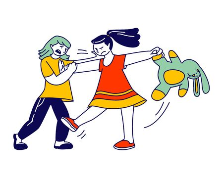 Little Girls Fighting and Quarreling at Playing Room. Classmates, Siblings or Friends Shouting and Hitting Each Other, Conflict Situation, Hyperactive Child, Cartoon Flat Vector Illustration, Line Art