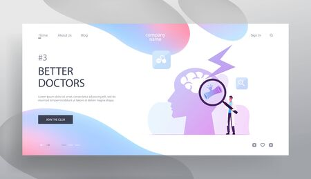 Insult Disease Symptoms, Neuroscience and Neurosurgery Website Landing Page. Doctor Holding Glass Looking on Human Head with Apoplexy Attack in Brain Web Page Banner. Cartoon Flat Vector Illustration