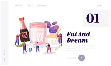 Soy Products Website Landing Page. Organic Natural Food of Soya Beans. Sauce, Meat and Milk from Legume Pods, Healthy Vegetarian Snacks and Meal Web Page Banner. Cartoon Flat Vector Illustration