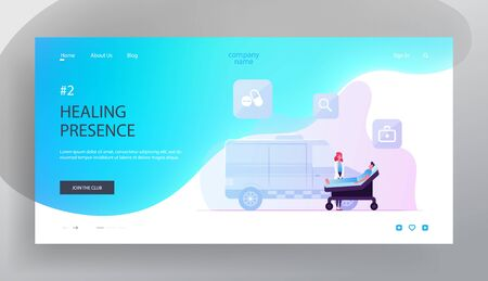 Health Care Website Landing Page. Ambulance Medic Transporting Patient with Apoplexy Attack to Hospital. Emergency Paramedic Doctor Character and Car Web Page Banner. Cartoon Flat Vector Illustration Çizim