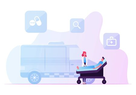 Ambulance Medical Staff Service Occupation. Medic Transporting Man Patient with Apoplexy Attack to Hospital. Emergency Paramedic Doctor Character and Car, Health Care Cartoon Flat Vector Illustration