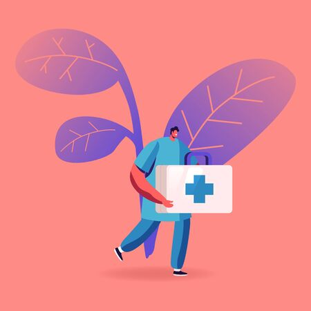 Doctor or Nurse in Robe with Medical Tools in Box with Cross Running to Help Diseased Patient with Hepatitis Crisis. Clinic, Hospital Healthcare Staff at Work Medicine Cartoon Flat Vector Illustration