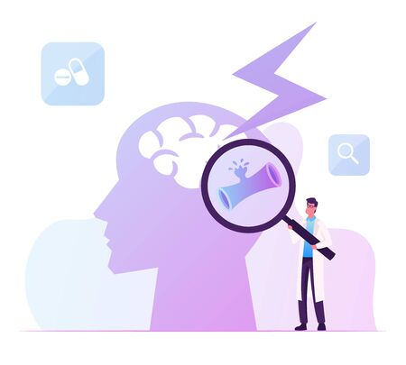 Tiny Male Doctor Character Holding Magnifying Glass Looking on Huge Human Head with Apoplexy Attack in Brain. Insult Disease Symptoms, Neuroscience and Neurosurgery Cartoon Flat Vector Illustration