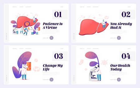 Hepatitis and Cirrhosis Treatment Website Landing Page Set. Cancer Awareness, Internal Organs Disease Treatment, Medical Healthcare, Hepatic Charity Web Page Banner. Cartoon Flat Vector Illustration