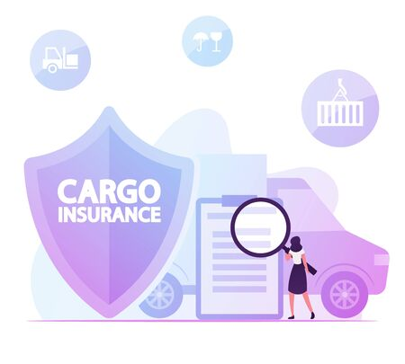 Woman with Huge Magnifying Glass Reading Contract for Cargo Insurance Service near Shield Symbol and Shipping Truck. Freight Delivery Guarantee, Protection of Goods Cartoon Flat Vector Illustration Vectores