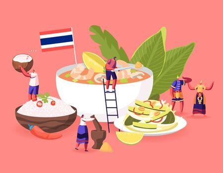 Traditional Thai Cuisine Concept. People in National Costumes and Tourists around Huge Dish Tom Yam Kung Soup with Shrimps, Rice in Bowl, Salad with Nuts and Cucumbers Cartoon Flat Vector Illustration Illustration
