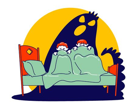 Pair of Little Scared Children Sitting on Bed and Hiding from Frightening Ghost under Blanket. Fearful Kids and Imaginary Monster. Nightmare Terrified Phobia Cartoon Flat Vector Illustration, Line Art