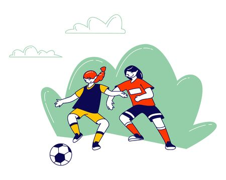 Couple of Little Girls in Sports Uniform Practicing Football Game, Soccer Player Kicking Ball Take Part in Junior School Competition. Children Soccer Training Cartoon Flat Vector Illustration Line Art