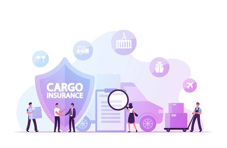 Cargo Insurance, Guaranty of Delivery Concept. Tiny Characters Making Deal with Shipping Company, Reading Policy Document, Loading Freight in Truck. Logistics Safety Cartoon Flat Vector Illustration