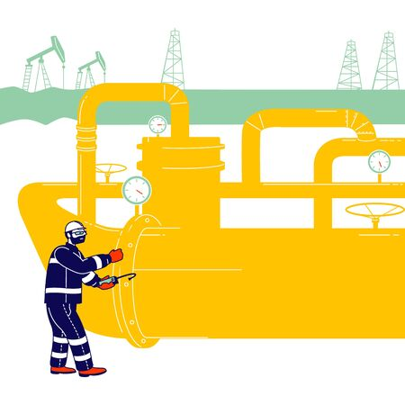 Operator Check and Inspect Oil Pump Differential Gauge and Pressure Transmitter. Worker with Equipment Work in Gas Industry. Technician Maintenance Service Cartoon Flat Vector Illustration, Line Art