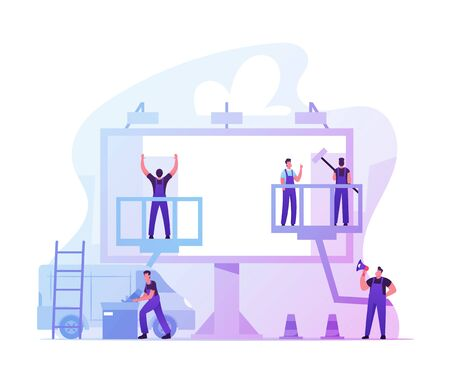Workers Prepare Billboard to Installing New Advertisement. Industrial Climbers Working on Ladder and Lifting Platform Painting Signboard, Foreman with Megaphone Manage Cartoon Flat Vector Illustration Ilustración de vector