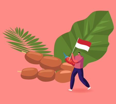 Indonesian Cuisine Concept. Positive Man Carry Traditional Red and White Flag near Huge Chicken Satay Popular Malaysian Appetizer. Asian Food, Oriental Cuisine, Meal Cartoon Flat Vector Illustration