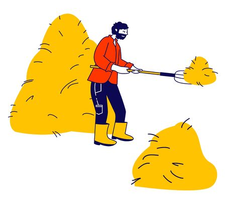 Farmer Holding Pitchfork and Sticking it into Haystack. Villager Work at Summertime in Village or Farm Harvesting and Raking Hay in Sheaf, Agriculture Cartoon Flat Vector Illustration, Line Art