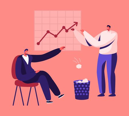 Less Paper Using and Stop Trees Cutting Concept. Businessman Sitting at Growing Arrow Chart Throw Crumpled Paper Sheets to Litter Bin. Forest Felling, Deforestation Cartoon Flat Vector Illustration Vectores